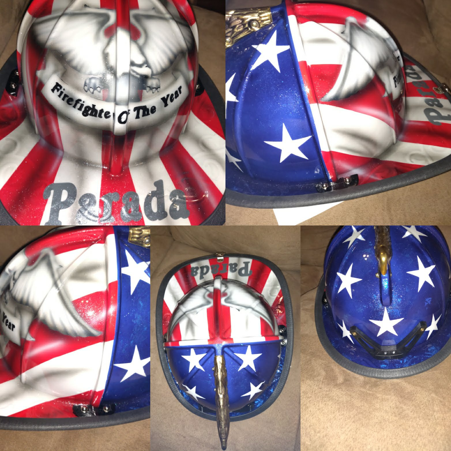 Custom Flag fire helmet firefighter fireman firemen